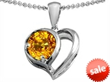 Original Star K™ Heart Shape Pendant With Round 7mm Genuine Citrine