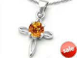 Original Star K™ Round Genuine Citrine Cross Pendant