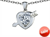 Original Star K™ Heart with Arrow Love Pendant with Genuine White Topaz style: 306597