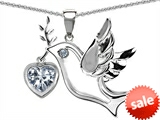 Original Star K™ Peace Love Dove Pendant with 7mm Heart Shape Genuine White Topaz