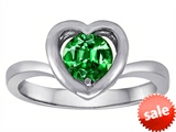 Original Star K™ Heart Engagement Promise of Love Ring with 7mm Round Simulated Emerald