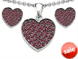 Original Star K™ Created Ruby Heart Shape Love Pendant with matching earrings style: 306604