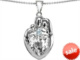 Original Star K™ Large Loving Mother Father With Child Family Pendant with 12mm Heart Genuine White Topaz