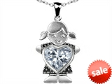 Original Star K™ Little Girl Holding 8mm Heart Mother Birthstone Pendant with Genuine White Topaz