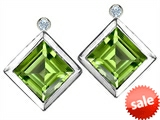 Original Star K™ Square Genuine Peridot Earring Studs With High Post On Back