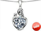 Original Star K™ Large Loving Mother With Child Pendant with 12mm Heart Shape Genuine White Topaz style: 306615