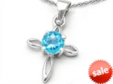Original Star K™ Round Simulated Aquamarine Cross Pendant style: 306622