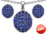 Original Star K™ Created Sapphire Oval Puffed Pendant with matching earrings style: 306623