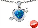 Original Star K™ Heart with Arrow Love Pendant with Heart Shape 8mm Created Blue Opal