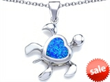 Original Star K™ Large 10mm Heart Shape Created Blue Opal Sea Turtle Pendant style: 306633