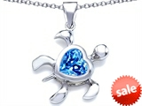 Original Star K™ Large 10mm Heart Shape Simulated Blue Topaz Sea Turtle Pendant