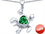Original Star K™ Large 10mm Heart Shape Simulated Emerald Sea Turtle Pendant