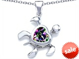 Original Star K™ Large 10mm Heart Shape Rainbow Mystic Topaz Sea Turtle Pendant