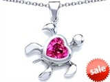 Original Star K™ Large 10mm Heart Shape Created Pink Sapphire Sea Turtle Pendant