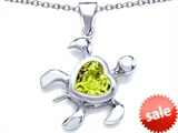 Original Star K™ Large 10mm Heart Shape Simulated Peridot Sea Turtle Pendant
