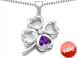 Celtic Love By Kelly™ Large 7mm Heart Shape Genuine Amethyst Lucky Clover Heart Pendant