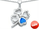Celtic Love By Kelly™ Large 7mm Heart Shape Created Blue Opal Lucky Clover Heart Pendant