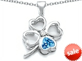 Celtic Love By Kelly™ Large 7mm Heart Shape Genuine Blue Topaz Lucky Clover Heart Pendant