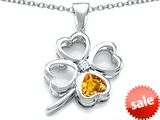 Celtic Love By Kelly™ Large 7mm Heart Shape Genuine Citrine Lucky Clover Heart Pendant