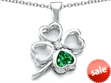 Celtic Love By Kelly™ Large 7mm Heart Shape Simulated Emerald Lucky Clover Heart Pendant
