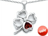 Celtic Love By Kelly™ Large 7mm Heart Shape Simulated Garnet Lucky Clover Heart Pendant