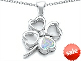 Celtic Love By Kelly™ Large 7mm Heart Shape Simulated Opal Lucky Clover Heart Pendant style: 306652