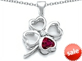 Celtic Love By Kelly™ Large 7mm Heart Shape Created Ruby Lucky Clover Heart Pendant