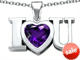 Original Star K™ 8mm Heart Shape Simulated Amethyst I Love You Heart Pendant