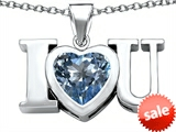 Original Star K™ 8mm Heart Shape Simulated Aquamarine I Love You Heart Pendant