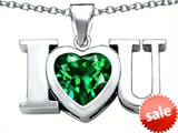 Original Star K™ 8mm Heart Shape Simulated Emerald I Love You Heart Pendant
