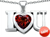 Original Star K™ 8mm Heart Shape Simulated Garnet I Love You Heart Pendant style: 306663