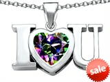 Original Star K™ 8mm Heart Shape Rainbow Mystic Topaz I Love You Heart Pendant
