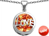 Original Star K™ Large Love Round Pendant with 15mm Round Simulated Mexican Orange Fire Opal