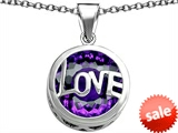 Original Star K™ Large Love Round Pendant with 15mm Round Simulated Amethyst