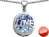 Original Star K™ Large Love Round Pendant with 15mm Round Simulated Aquamarine