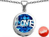 Original Star K™ Large Love Round Pendant with 15mm Round Simulated Blue Topaz style: 306673