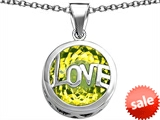 Original Star K™ Large Love Round Pendant with 15mm Round Simulated Peridot style: 306675
