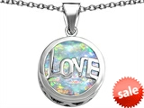 Original Star K™ Large Love Round Pendant with 15mm Round Created Opal
