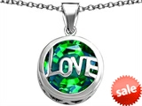 Original Star K™ Large Love Round Pendant with 15mm Round Simulated Emerald