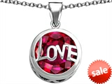 Original Star K™ Large Love Round Pendant with 15mm Round Created Ruby