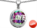 Original Star K™ Large Love Round Pendant with 15mm Round Rainbow Mystic Topaz