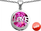 Original Star K™ Large Love Round Pendant with 15mm Round Created Pink Sapphire