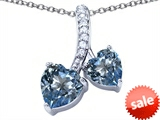 Original Star K™ 8mm and 7mm Heart Shape Simulated Aquamarine Double Hearts Pendant