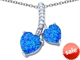 Original Star K™ 8mm and 7mm Heart Shape Simulated Blue Opal Double Hearts Pendant style: 306685