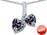 Original Star K™ 8mm and 7mm Heart Shape Rainbow Mystic Topaz Double Hearts Pendant