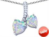 Original Star K™ 8mm and 7mm Heart Shape Created Opal Double Hearts Pendant