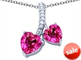 Original Star K™ 8mm and 7mm Heart Shape Created Pink Sapphire Double Hearts Pendant