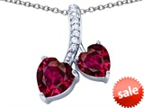 Original Star K™ 8mm and 7mm Heart Shape Created Ruby Double Hearts Pendant