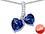 Original Star K™ 8mm and 7mm Heart Shape Created Sapphire Double Hearts Pendant style: 306691