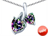 Original Star K™ 8mm and 6mm Heart Shape Rainbow Mystic Topaz Double Hearts Pendant